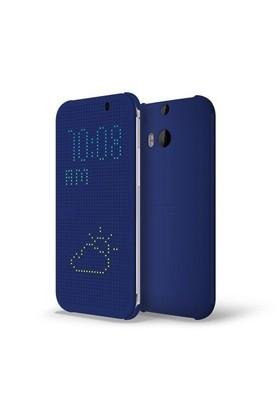 HTC One (M8) Dot View Flip Case Mavi Kılıf - 1011100241