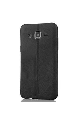 Coverzone Samsung Galaxy J2 Kılıf Silikon Deri Dizayn Siyah