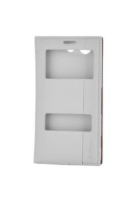 Gpack Sony Xperia Z3 Compact Kılıf Z3 Mini Kılıf Milano Pencereli Kapaklı - Beyaz