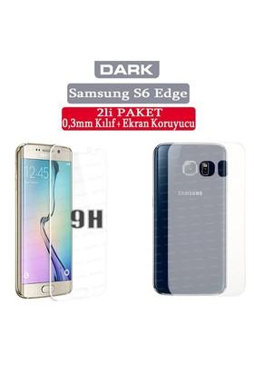 Dark Samsung Galaxy S6 Edge ikili Paket 0,3mm Ultra İnce Mat Kılıf + 9H Cam Ekran Koruyucu (DK-AC-CP