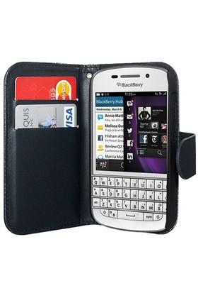 Microsonic Cüzdanlı Deri Blackberry Q10 Kılıf Siyah