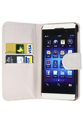 Microsonic Cüzdanlı Deri Blackberry Z10 Kılıf Beyaz