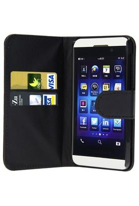 Microsonic Cüzdanlı Deri Blackberry Z10 Kılıf Siyah