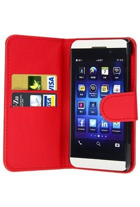Microsonic Cüzdanlı Deri Blackberry Z10 Kılıf Kırmızı