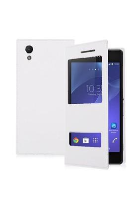 Microsonic Dual View Delux Kapaklı Sony Xperia Z2 Kılıf Beyaz