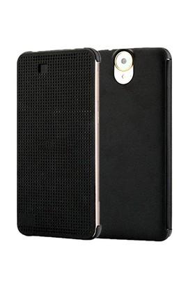 CoverZone Htc E9 Kılıf Dot View Akıllı Kılıf Siyah