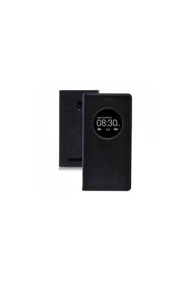 CaseCrown Asus Zenfone Selfie Flip Cover Miknatıslı Siyah (Uyku Modlu)