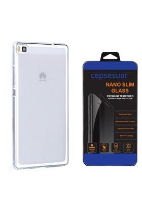 Cepsesuar Huawei P8 Kılıf Silikon 0.2 Mm Şeffaf - Cam