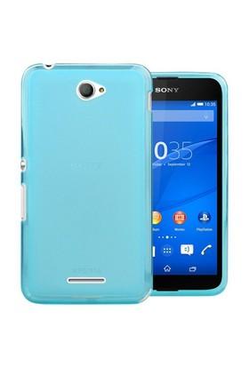 Microsonic Transparent Soft Sony Xperia E4 Kılıf Mavi