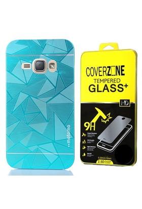 Coverzone Samsung Galaxy J3 Kılıf Metalik Sert Arka Kapak Mavi + Cam
