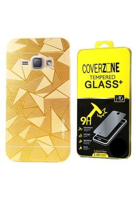 Coverzone Samsung Galaxy J3 Kılıf Metalik Sert Arka Kapak Altın + Cam