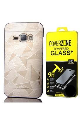 Coverzone Samsung Galaxy J3 Kılıf Metalik Sert Arka Kapak Gümüş + Cam