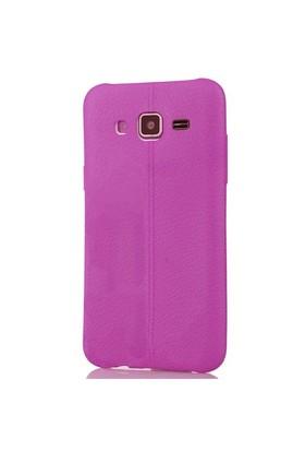 Coverzone Samsung Galaxy J3 Kılıf Silikon Deri Style Mor