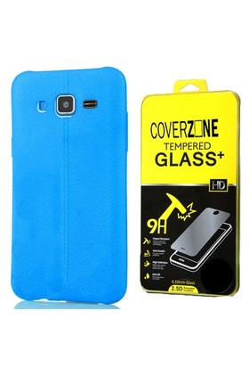 Coverzone Samsung Galaxy J3 Kılıf Silikon Deri Style Mavi + Cam