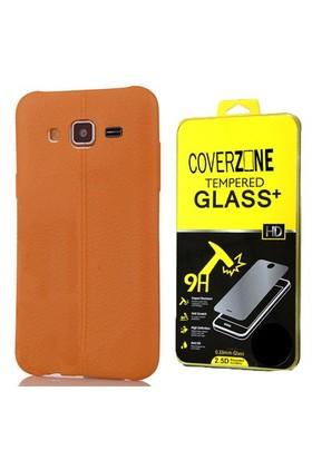 Coverzone Samsung Galaxy J3 Kılıf Silikon Deri Style Kahverengi + Cam