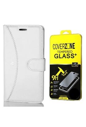 Coverzone Samsung Galaxy J3 Kılıf Deri Cüzdan Kapaklı Beyaz +Cam