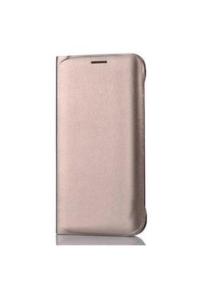 Coverzone Samsung Galaxy J3 Kılıf Kapaklı Flip Cover Deri Altın