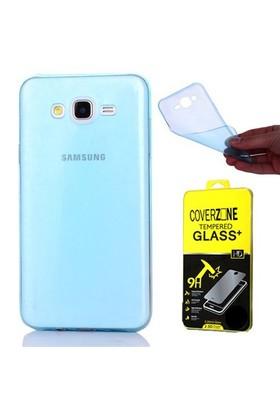 Coverzone Samsung Galaxy J3 Silikon 0.3Mm İnce Mavi + Cam