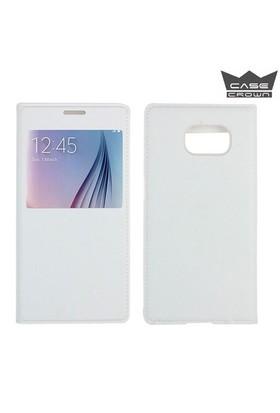 CaseCrown Samsung Galaxy S7 Edge Pencereli Flip Cover Kılıf Beyaz