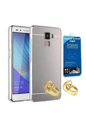 Teleplus Turk Telekom Honor 7 Aynalı Metal Kapak Kılıf Gümüş + Cam Ekran Koruyucu