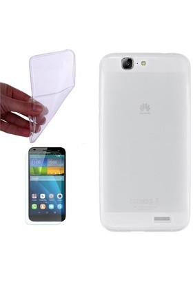 Gpack Huawei Ascend G7 Kılıf 0.2Mm Şeffaf Silikon - Cam