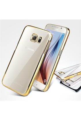 Ebox Samsung Galaxy S6 Kenarları Altın Varaklı Şeffaf İnce Silikon Arka Kapak - EBX-0085
