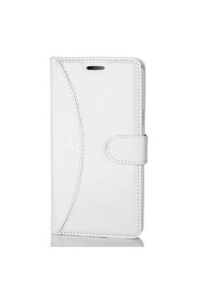 Gpack Samsung Galaxy J3 Kılıf Kapaklı Cüzdan Kartvizitli - Beyaz