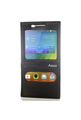 CoverZone Lenovo A5000 Kapaklı Kılıf Pencereli Siyah