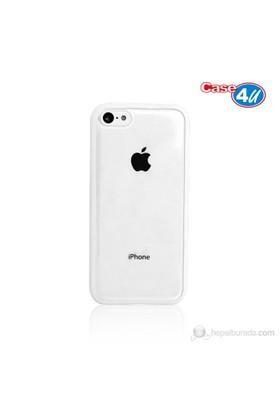 Case 4U iPhone 5c Şeffaf Beyaz Tpu + Kristal Kapak