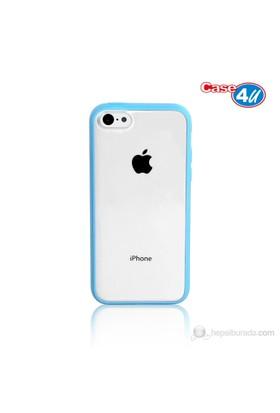Case 4U iPhone 5c Şeffaf Mavi Tpu + Kristal Kapak