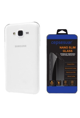 Cepsesuar Samsung Galaxy J2 Kılıf Silikon 0.2 Mm Şeffaf + Cam