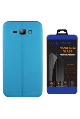 Cepsesuar Samsung Galaxy J2 Kılıf Silikon Dikişli Mavi + Cam