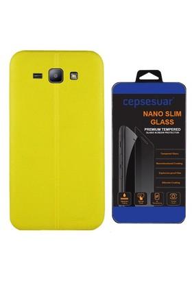 Cepsesuar Samsung Galaxy J2 Kılıf Silikon Dikişli Sarı + Cam