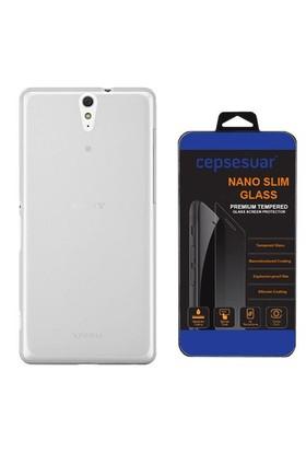 Cepsesuar Sony Xperia C5 Ultra Kılıf Silikon 0.2 Mm Şeffaf - Cam