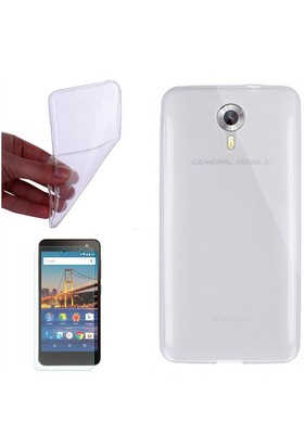 Gpack General Mobile Android One 4G Kılıf 0.2Mm Şeffaf Silikon - Cam