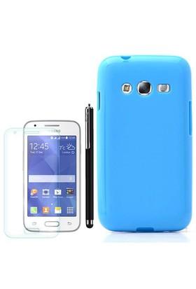 Gpack Samsung Galaxy Ace 4 Kılıf Parlak Silikon +Kalem+ Cam