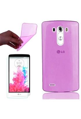 Cep Market Lg G Flex 2 Kılıf 0.2Mm Pembe Silikon + Cam