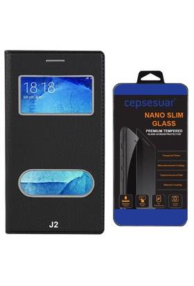 Cepsesuar Samsung Galaxy J2 Kılıf Kapaklı Dolce Siyah + Cam