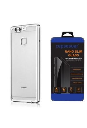 Cepsesuar Huawei P9 Kılıf Silikon Lazer Gümüş + Cam