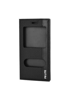Cep Market Huawei P8 Lıte Kılıf Kapaklı Pencereli Magnum - Siyah