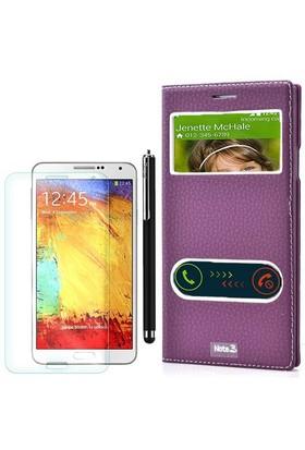 Gpack Samsung Galaxy Note 3 Kılıf Pencereli Dolce +Kalem+Cam