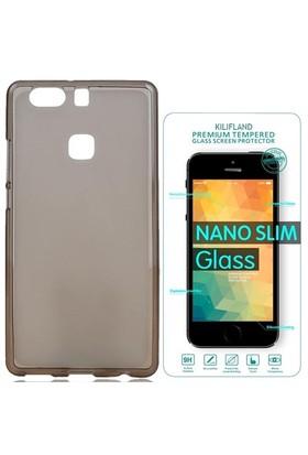 Exclusive Phone Case Huawei P9 Kılıf 0.2 Silikon Siyah+Tempered Glass
