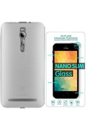 Exclusive Phone Case Asus Zenfone 2 Kılıf 0.2 Silikon Şeffaf+Tempered Glass