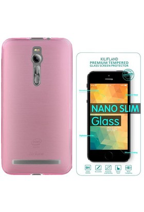 Exclusive Phone Case Asus Zenfone 2 Kılıf 0.2 Silikon Pembe+Tempered Glass