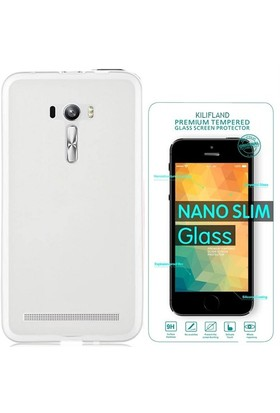 Exclusive Phone Case Asus Zenfone 2 Laser (5.5'') Ze550kl Kılıf 0.2 Silikon Şeffaf+Tempered Glass
