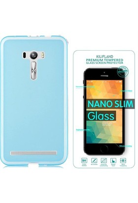 Exclusive Phone Case Asus Zenfone 2 Laser (5.5'') Ze550kl Kılıf 0.2 Silikon Mavi+Tempered Glass