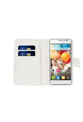 Microsonic Cüzdanlı Deri General Mobile Discovery 2 Kılıf Beyaz