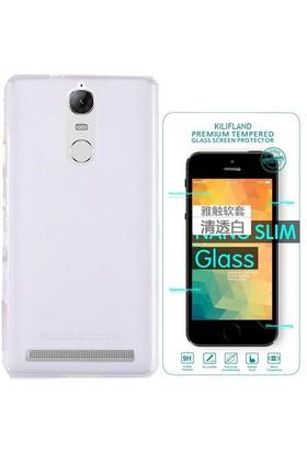 Exclusive Phone Case Lenovo K5 Note Kılıf 0.2 Silikon Şeffaf+Tempered Glass