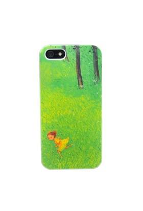 Duck Apple iPhone 5 Sari Elbiseli Kiz-Palette - Yeşil Kapak