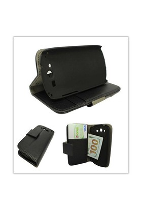 Microsonic Cüzdanlı Standlı Deri Kılıf - Huawei Ascend Vision U8850 Siyah